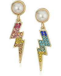 Betsey Johnson - S Pave And Pearl Lighting Bolt Earrings - Lyst