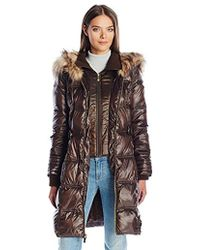 Via Spiga - Feather Free Cinch Waist Puffer Coat With Luxe Faux Fur Trim Collar - Lyst