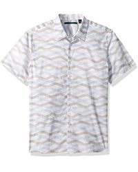 Perry Ellis - Short Sleeve Wave Printed Shirt - Lyst