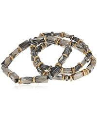 Nine West - Tri-tone Set Of 3 Stretch Bracelets - Lyst