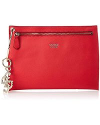 4f5b21c5c5 Guess Pink Clutch With Metallic Brand Appliqué in Pink - Lyst