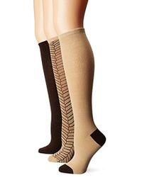 Anne Klein - Sophisticated Herringbone Knee High Socks 3-pack - Lyst