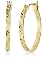 Anne Klein - Gold Tone Leaf Hoop Earrings - Lyst