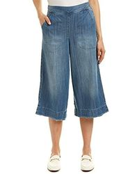 Splendid - Cotton Twill Cropped Wide Leg Pant Chambray - Lyst