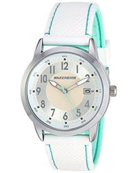 Skechers - Haynes Quartz Metal And Silicone Casual Watch, Color: Silver-tone, White (model: Sr6102) - Lyst