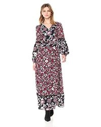 Ella Moon - Giulia Mixed Print Insert Trim Poet Sleeve Maxi Dress - Lyst