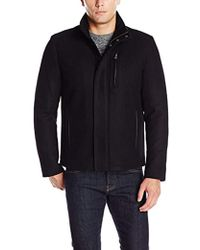 Cole Haan - Wool Melton Jacket With Knit Collar - Lyst