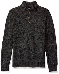 Izod - Button Mock Donegal Sweater - Lyst