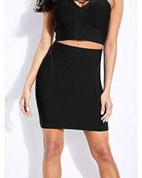9b76aac310 Lyst - Guess Bandage Mesh Pencil Skirt in Black