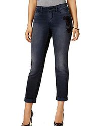 dd355db8941 TOPSHOP Fire Flower High Rise Ripped Mom Jeans in Blue - Lyst