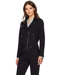 Kenneth Cole - Pinstripe Moto Jacket - Lyst