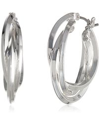 "Anne Klein - ""classics"" Silver-tone Triple Ring Hoop Earrings - Lyst"