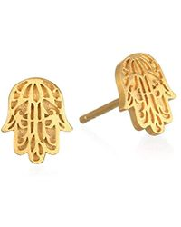 Satya Jewelry - Gold Plate Hamsa Stud Earrings - Lyst