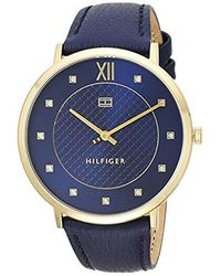 Tommy Hilfiger - 'sophisticated Sport' Quartz Gold-tone And Leather Casual Watch, Color Blue (model: 1781807) - Lyst