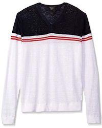 Armani Exchange - | Color Block Stripe Long Sleeve Linen Blend Knit - Lyst