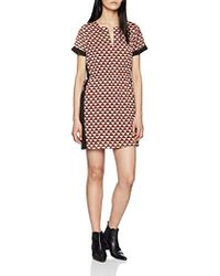 Scotch & Soda - Short Sleeve Printed Dress With Elasticated Waist And Contra - Lyst