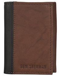 Ben Sherman - Leather Trifold Wallet With Id Window (rfid) - Lyst