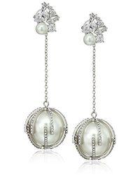 """Betsey Johnson - """"betsey Blue"""" Cubic Zirconia Stone Cluster Pearl Linear Drop Earrings - Lyst"""
