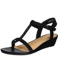 e6152bf27873 Clarks Parram Spice Gladiator Wedge Sandals in Black - Lyst