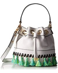 MILLY - Whitpstitch Tassel Sm Drawstring Cross-body Bag - Lyst