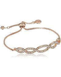 Anne Klein - Rose Gold Pave Weave Slider Bracelet, Rose Gold, Adjustable - Lyst