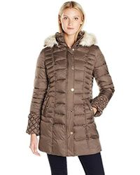 Betsey Johnson - 3/4 Puffer Withpopcorn Detailed Sleeve/cinched Waist/faux Fur Hood Strip - Lyst