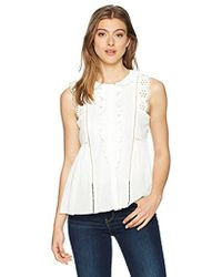 Max Studio - Sleeveless Lace Trimmed Ruffle Top - Lyst