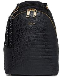 0a3df38ecc Replay Faux-leather Backpack in Black - Lyst