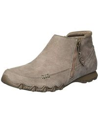 Skechers Bikers-zippiest-moc-toe Outside Zip Bootie Ankle Boot, Mushroom, 9 M Us