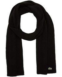 Lacoste Ribbed Logo Scarf - Black
