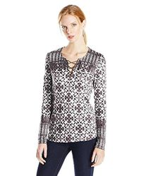 NYDJ - Batik Printed Long Sleeve Knit Lace Up Top - Lyst