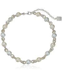 Anne Klein - Pearl And Around Collar Necklace - Lyst