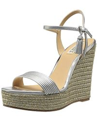 d28418617d604 Lyst - Badgley Mischka Tahlia Bejeweled Ankle-strap Sandals in Natural