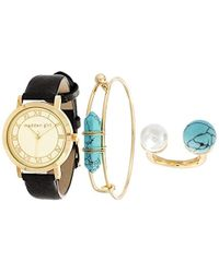 Steve Madden - Leather Turquoise Accent Bangle Bracelet, Ring, And Watch Set For (various Colors) - Lyst