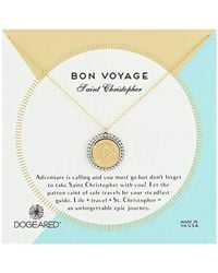 "Dogeared - Bon Voyage Saint Christopher 2-tone Saint Chain Necklace, Gold, 18"" + 2"" Extension - Lyst"