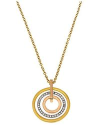Michael Kors Mkj4166 998 Billiance Tri Tone Circular Pave Disc Pendant Necklace