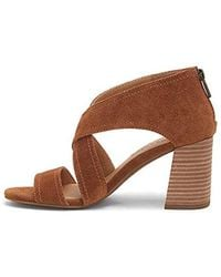 23bbc3a139e Lyst - Lucky Brand Vidva Suede Block Heel Sandals in Brown