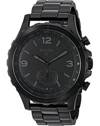 Fossil - Hybrid Smartwatch - Q Nate Black Stainless Steel - Lyst
