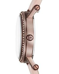 027dc6dd80b0 Michael Kors - Watches S Norie Sable Ip And Pink Leather Watch - Lyst
