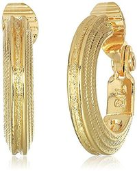 Anne Klein - Gold Tone Rimmed Hoop Clip On Earrings - Lyst