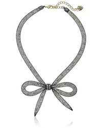 "Betsey Johnson - Memoirs Of Betsey Mesh Bow Necklace, 16"" + 3"" Extender - Lyst"