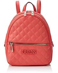 4df43ee025b9 Guess Wo Small Silver Backpack With Pompom in Metallic - Lyst