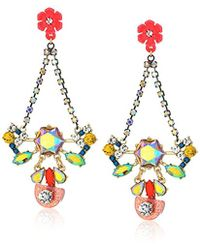 Betsey Johnson - S Colorful Floral Chandelier Earrings - Lyst