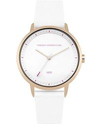 French Connection - Quartz Metal And Silicone Casual Watch, Color:white (model: Fc1289wrg) - Lyst