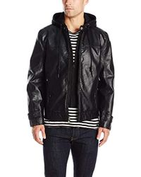 Marc New York - Newfane Distressed Pu Moto With Removable Hooded Bib - Lyst