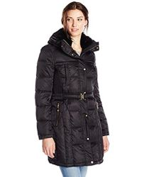 Vince Camuto - Belted Down Coat With Faux Fur Collar - Lyst