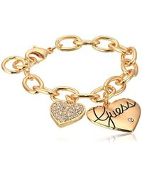 Guess - S Two Heart Charm Bracelet - Lyst