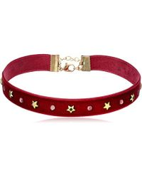Steve Madden - Velvet With Stars Choker Necklace - Lyst