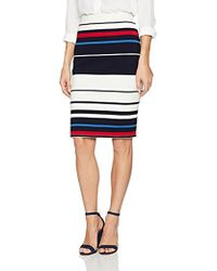 Adrianna Papell - Multi Color Stripe Ottoman Knit Skirt - Lyst