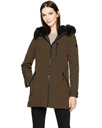 Calvin Klein - Softshell Stretch Anorak Jacket With Faux Fur Trimmed Hood - Lyst